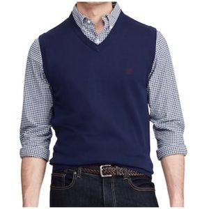 Chaps Navy Blue V-Neck Sweater Large Vest